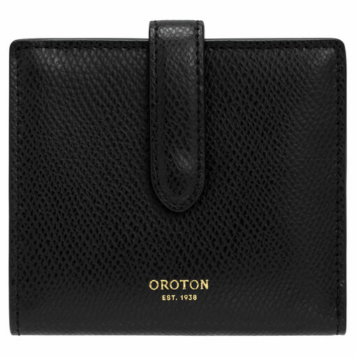 Oroton Muse 9 Credit Card Wallet in Black and Saffiano / Smooth for female