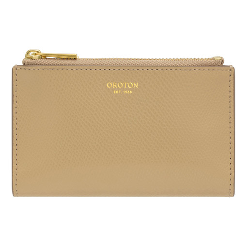 Oroton Muse 10 Credit Card Zip Wallet in Cinnamon and Saffiano / Smooth for female