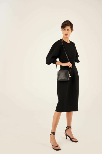 Oroton Willow Square Crossbody in Black and Smooth Leather for female