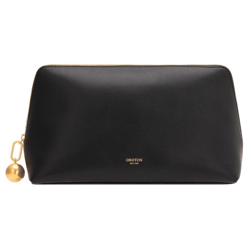 Oroton Willow Large Case in Black and Smooth Leather for female