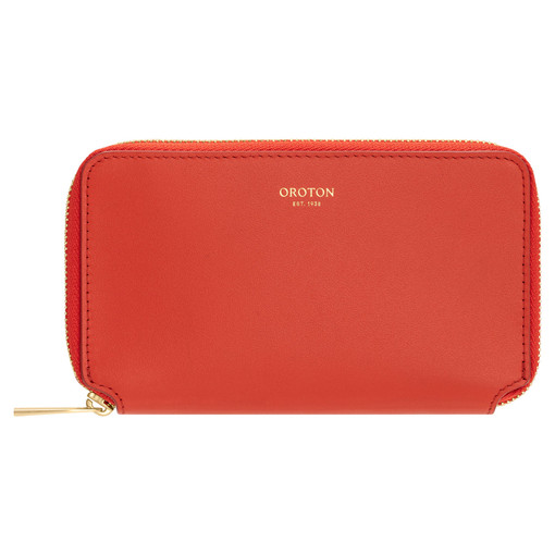 Oroton Willow Mini Book Wallet in Poppy and Smooth Leather for female