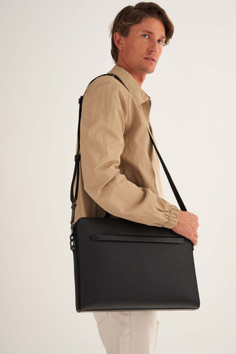 Oroton Weston Laptop Bag in Black and Pebble Leather for male