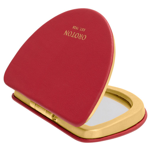 Oroton Quai Compact Mirror in Rich Scarlet and Smooth Leather for female
