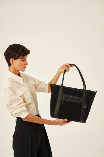 Oroton Oroton X Hemp Black Tote in Black and Body material: 100% Hemp canvas fabric with Faux Leather Hemp Black infused trims, with anti-bacterial technology for female