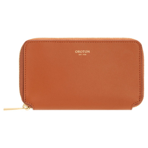 Oroton Willow Mini Book Wallet in Maple and Smooth Leather for female