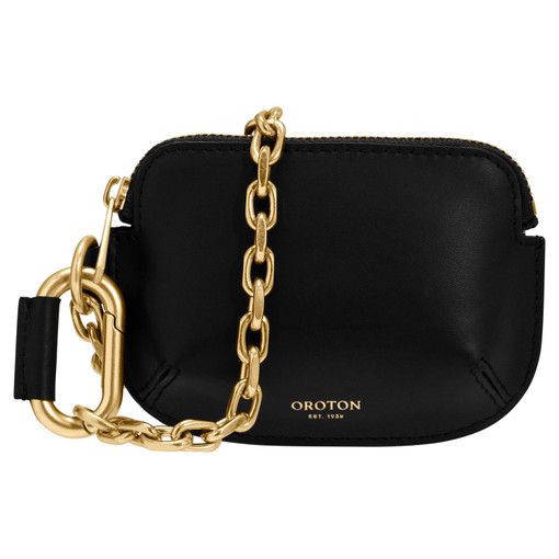 Oroton Roy Chain Wristlet in Black and Smooth Leather for female