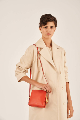 Oroton Willow Square Crossbody in Poppy and Smooth Leather for female