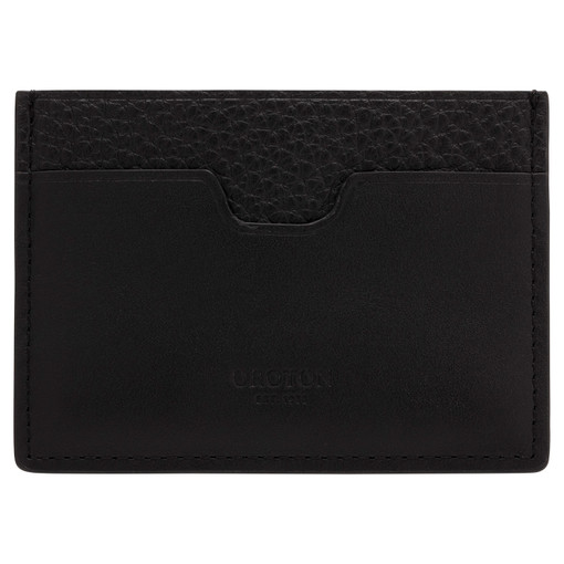 Oroton Weston Card Sleeve in Black and Pebble Leather for male