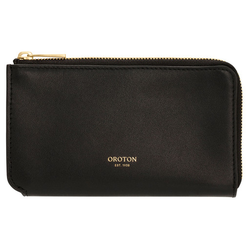 Oroton Willow Curve Zip Pouch in Black and Smooth Leather for female