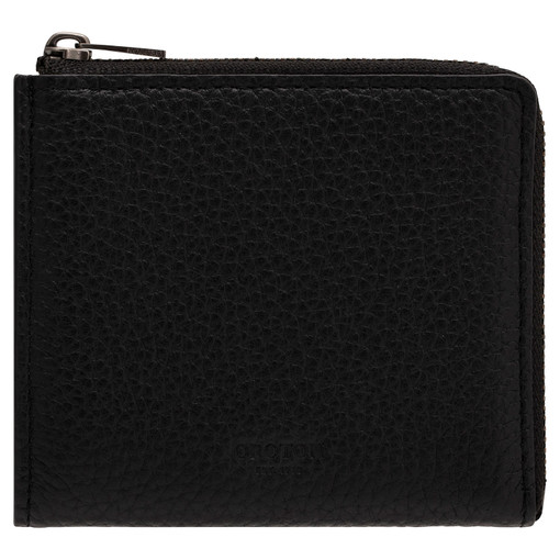 Oroton Weston Side Zip Wallet in Black and Pebble Leather for male