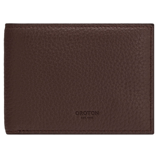 Oroton Weston 8 Card Wallet in Espresso and Pebble Leather for male