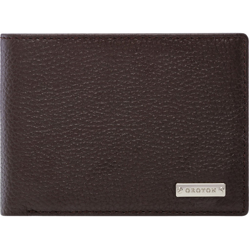 Oroton Finn Mini Wallet With Zip in Chocolate and Pebble grain leather for male