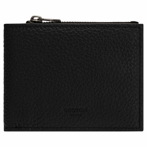 Oroton Weston 8 Card Zip Wallet in Black and Pebble Leather for male