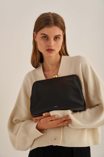 Oroton Nova Day Bag in Black and Smooth Leather for female