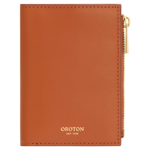 Oroton Willow Mini 10 Credit Card Wallet in Maple and Smooth Leather for female