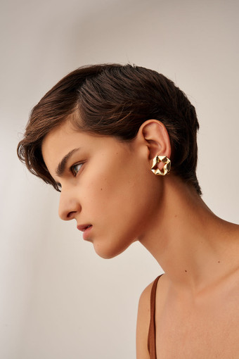 Oroton Quai Clip On Earrings in Gold and Brass Base Metal With Precious Metal Plating for female