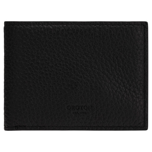 Oroton Weston 4 Card Mini Wallet in Black and Pebble Leather for male
