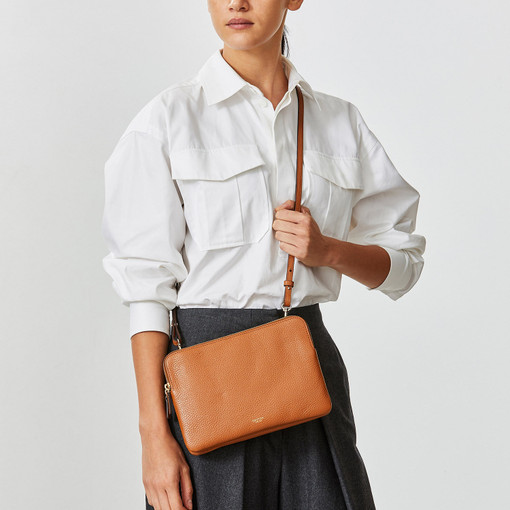 Oroton Avalon Large Double Clutch in Cognac and Pebble Leather for female