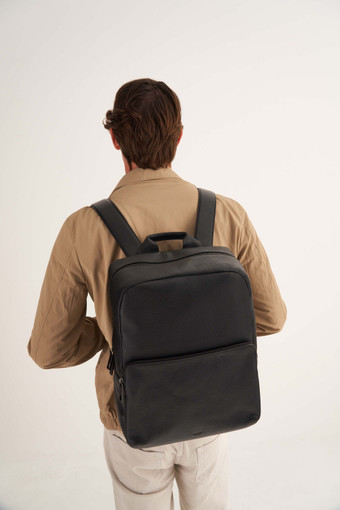 Oroton Weston Backpack in Black and Pebble Leather for male