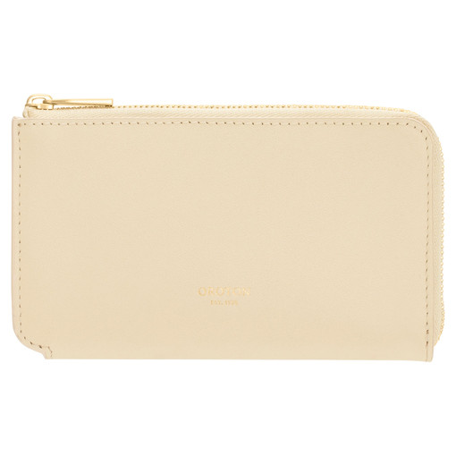 Oroton Willow Curve Zip Pouch in Vanilla and Smooth Leather for female