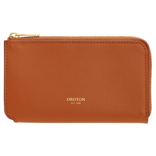Oroton Willow Curve Zip Pouch in Maple and Smooth Leather for female