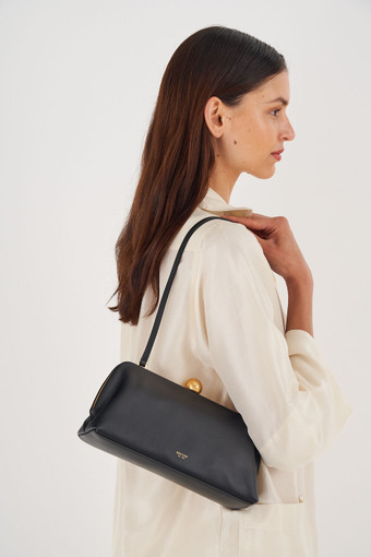 Oroton Nova Clutch in Black and Smooth Leather for female