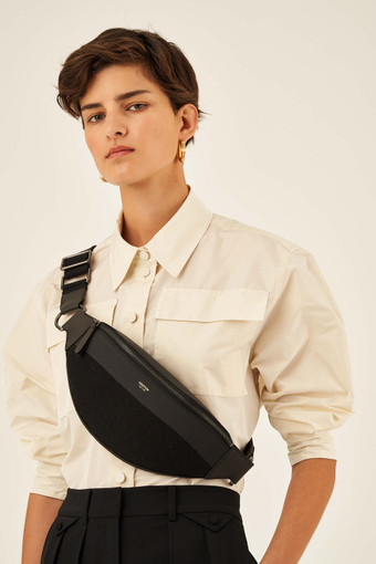 Oroton Oroton X Hemp Black Belt Bag in Black and Body material: 100% Hemp canvas fabric with Faux Leather Hemp Black infused trims, with anti-bacterial technology for female