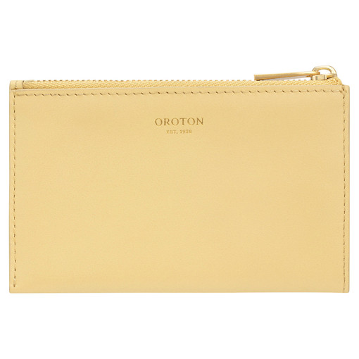 Oroton Nova 4 Credit Card Zip Pouch in Butter and Smooth Leather for female