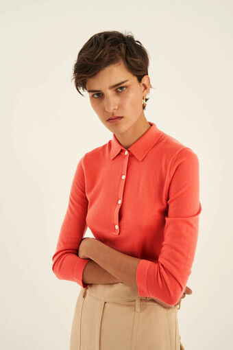 Oroton 3/4 Sleeve Polo in Soft Rouge and 100% Wool for female
