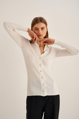 Oroton Rib Knit Polo in Fresh Cream and 77% Viscose 23% Polyester for female