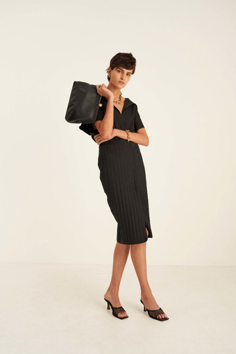 Oroton Quilted Wrap Skirt in Black and 100% Cotton for female