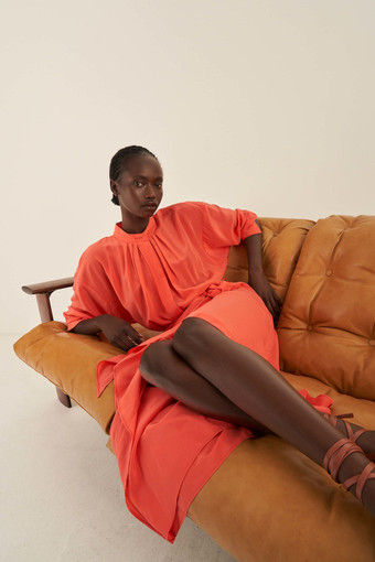 Oroton Soft Silk Dress in Soft Rouge and 100% Silk for female