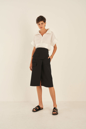 Oroton Cotton Utility Skirt in Black and 100% Cotton for female