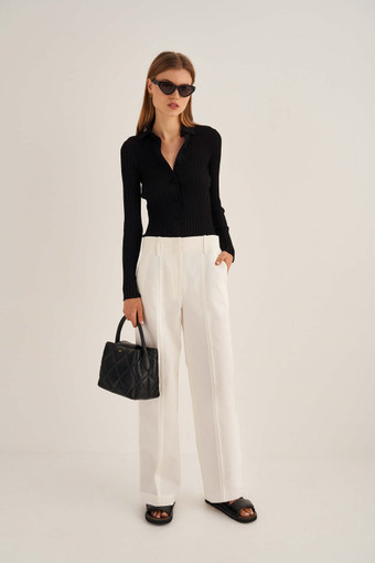Oroton Wide Leg Pant in White and 77% Cotton 23% Linen for female