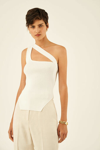 Oroton Rib Knit Asymmetric Tank in Cream and 83% Viscose 17% Polyester for female
