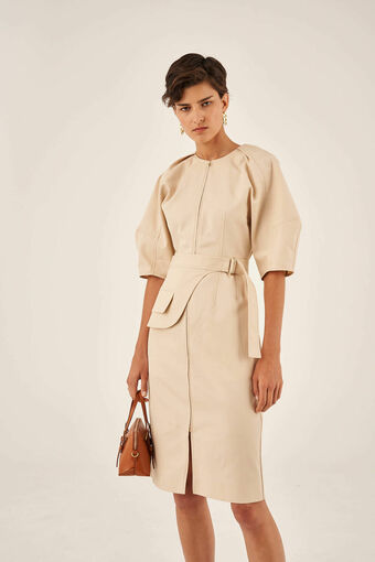 Oroton Drill Utility Dress in Powder and 100% Cotton for female