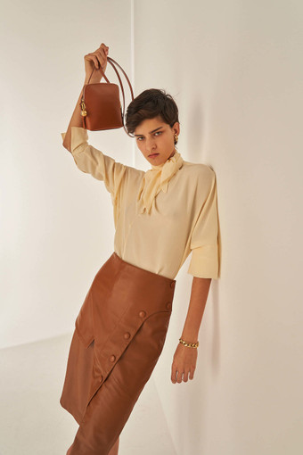 Oroton Leather Skirt in Cognac and 100% Leather for female