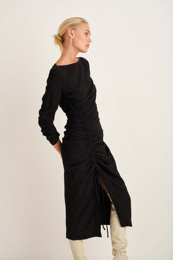 Oroton Rouched Dress in Black and 100% Viscose for female