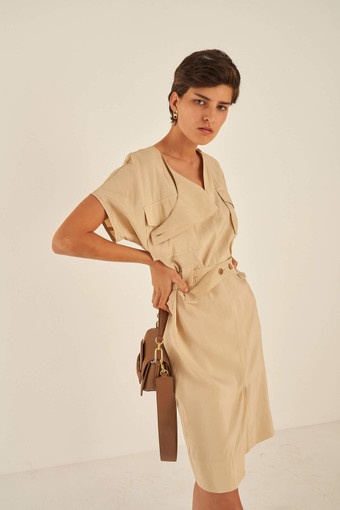 Oroton Belted Shirt Dress in Dark Putty and 75% Viscose 25% Polyester for female