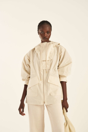 Oroton A-Line Pocket Parka in Bone and 100% Polyester for female