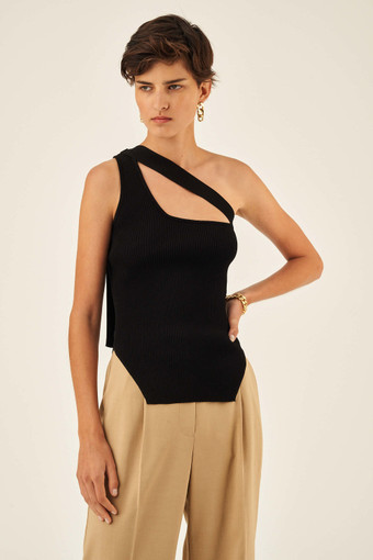 Oroton Rib Knit Asymmetric Tank in Black and 83% Viscose 17% Polyester for female