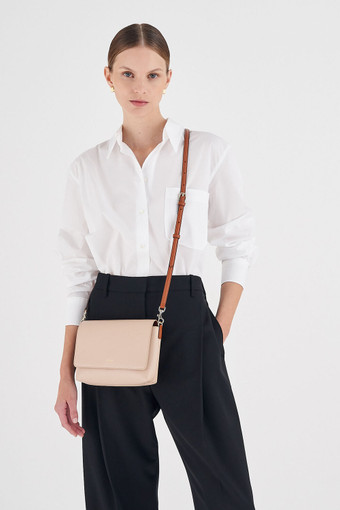 Oroton Harriet Crossbody in Praline and Saffiano Leather With Smooth Leather Trim for female