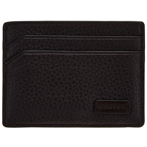 Oroton Preston Credit Card Sleeve in Chocolate and Pebble Leather for male