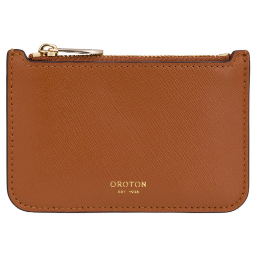 Oroton Harriet Credit Card Holder in Cognac and Shiny Soft Saffiano for female