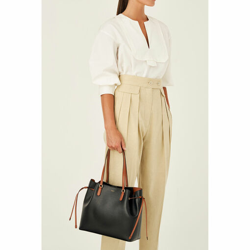 Oroton Harriet Medium Tote in Black and Saffiano Leather With Smooth Leather Trim for female
