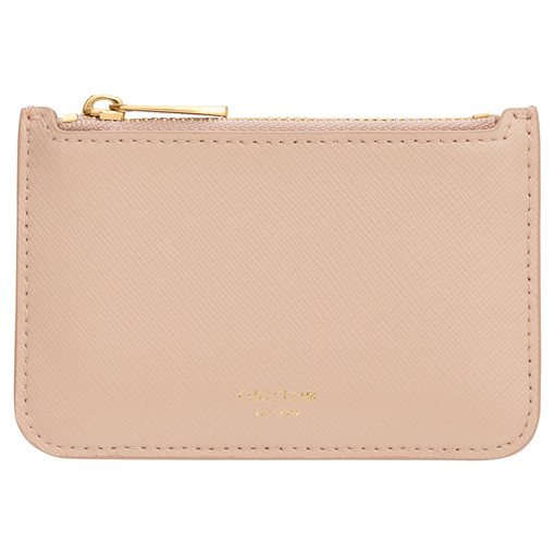 Oroton Harriet Credit Card Holder in Praline and Saffiano Leather for female
