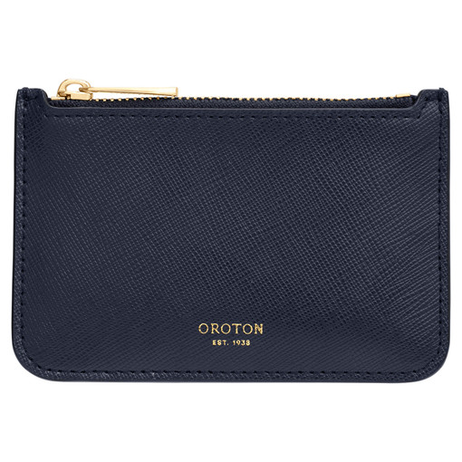 Oroton Harriet Credit Card Holder in Indigo and Saffiano Leather for female