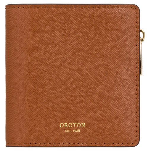 Oroton Harriet Mini Wallet in Cognac and Shiny Soft Saffiano for female