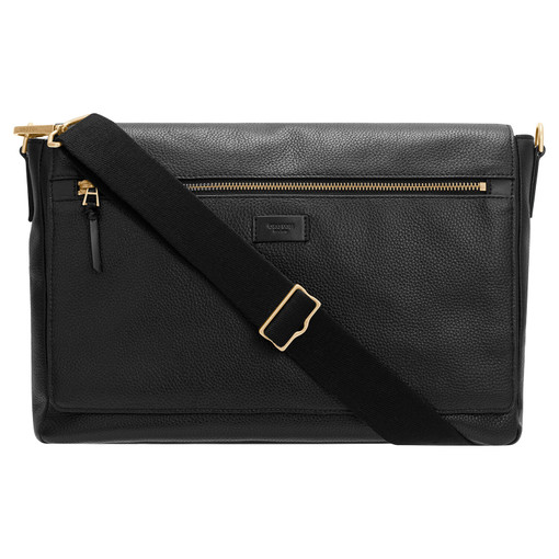 """Oroton Lucas 13"""" Satchel in Black and Pebble Leather for male"""
