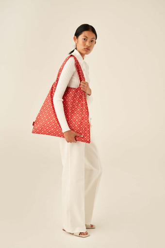 Oroton Elsie Packable Tote in Candy Apple Red/Cream and Printed Fabric for female